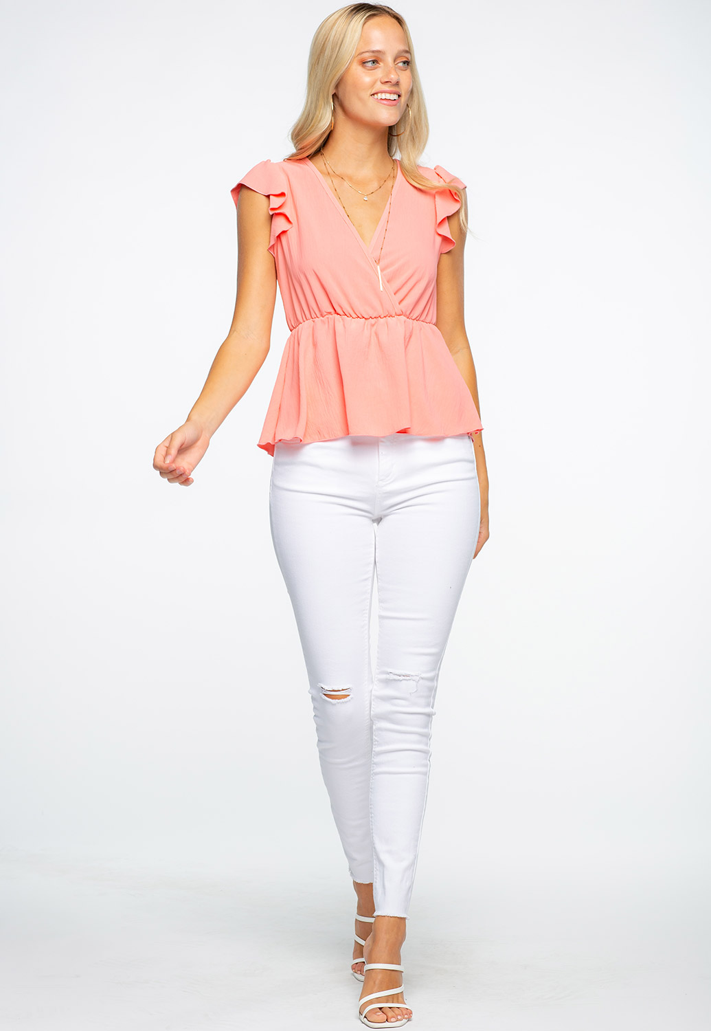 V-Neck Shoulder Ruffle Detailed Blouse