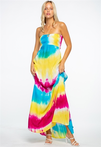 Summer Strapless Tie Dye Maxi Dress With Back Details