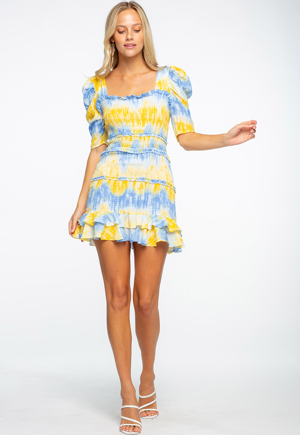 Semi Puff Shoulder Tie-Dye Ruffle Dress