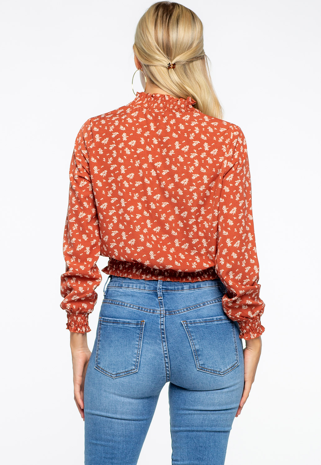 High-Neck Floral Long Sleeve Blouses With Ruffles