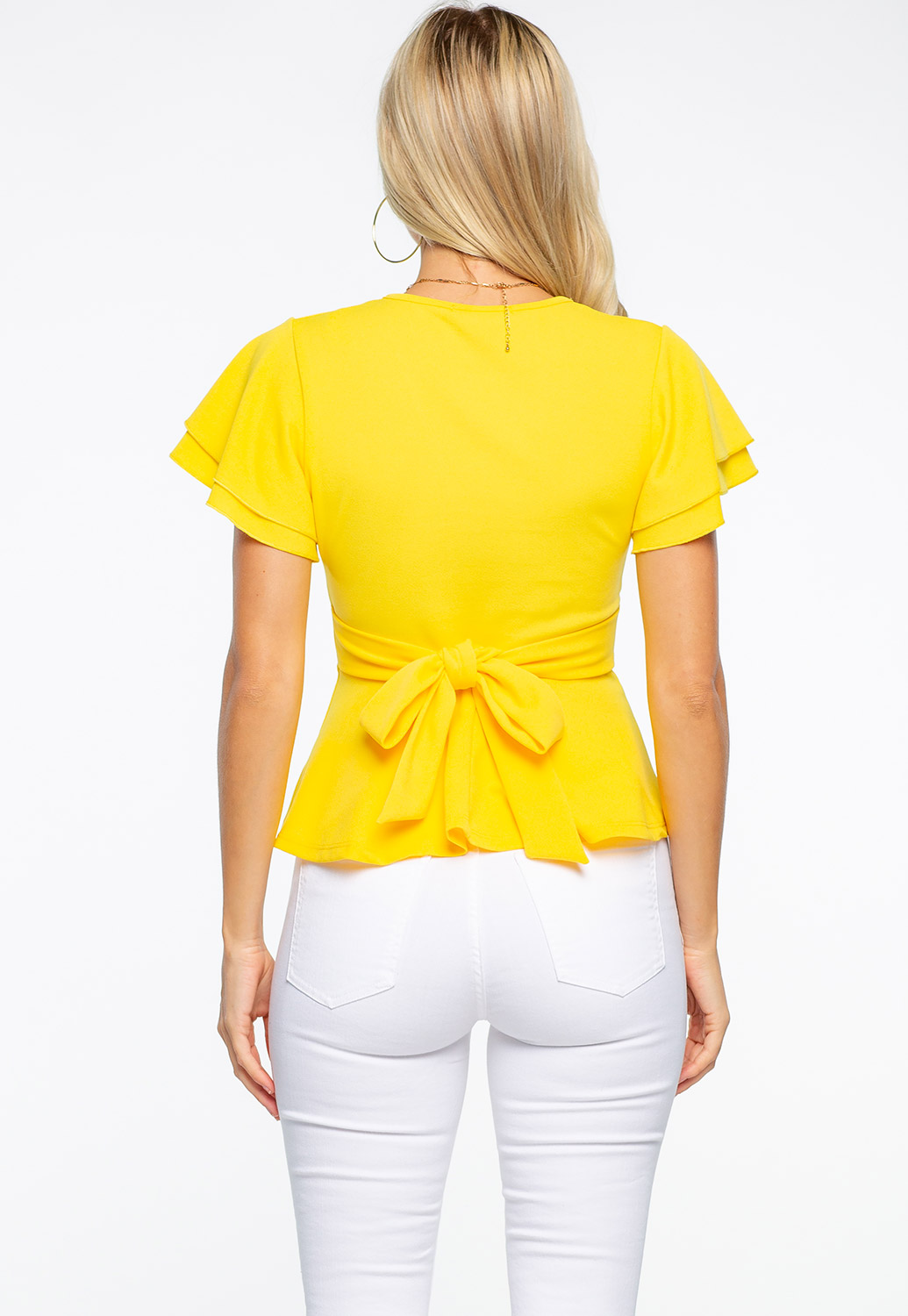 V-Neck Ruffle Sleeve Dressy Top With Back Ribbon Tie