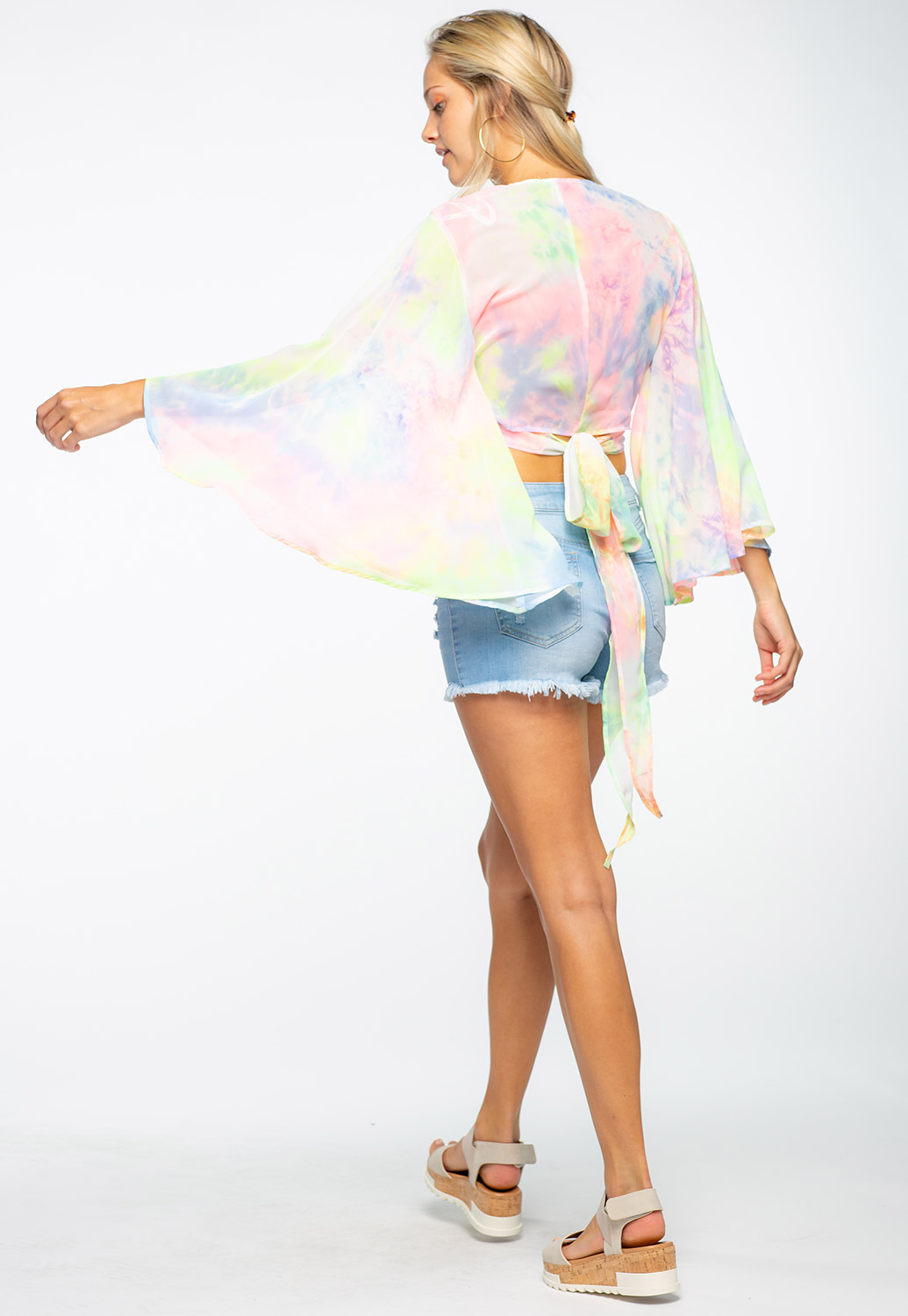 Kimono Inspired Wrap Around Top With Back Tie
