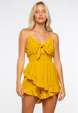 Summer Front Tie Sleeveless Ruffle Smocked Romper
