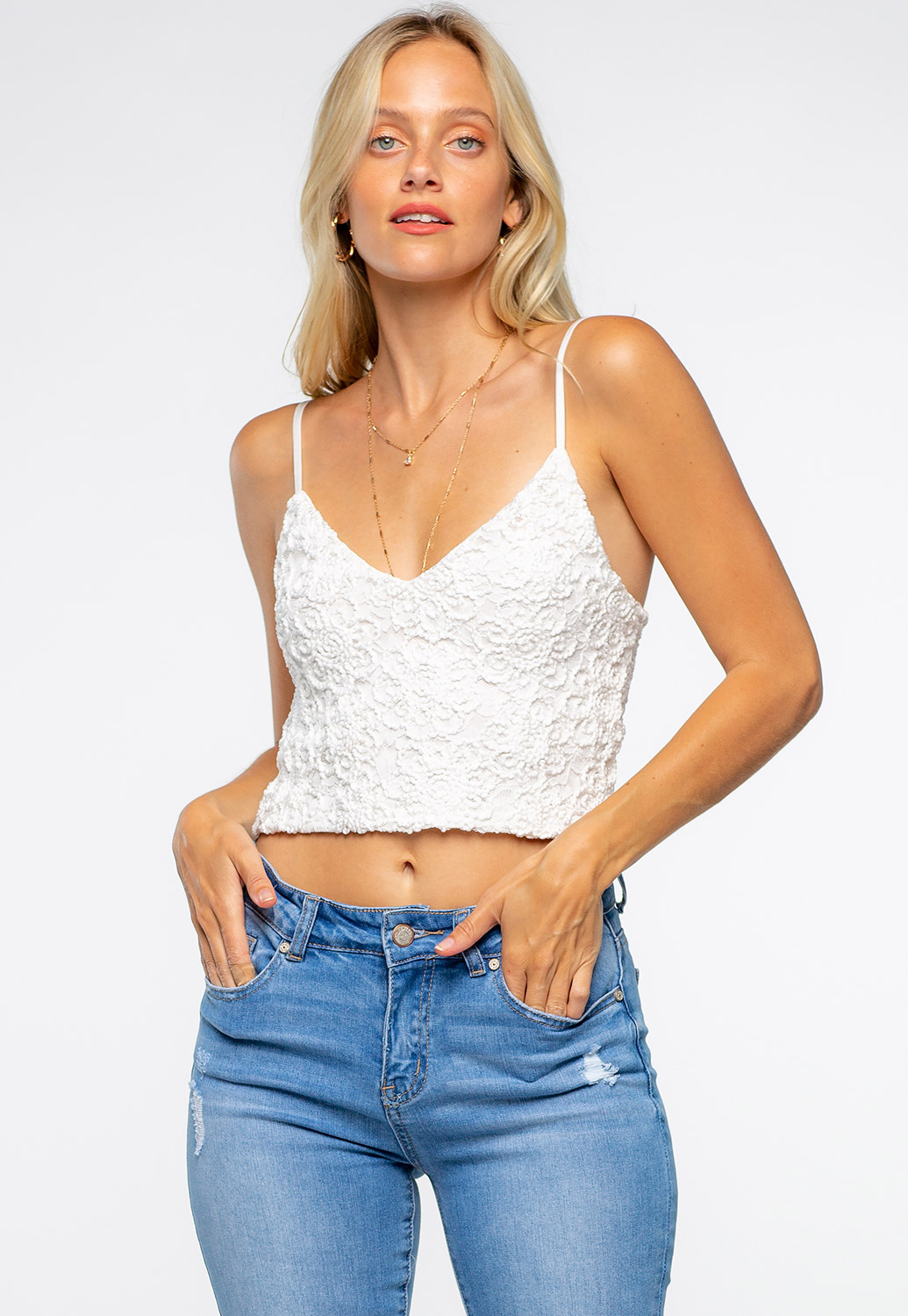 Floral Embroidery Crop Top
