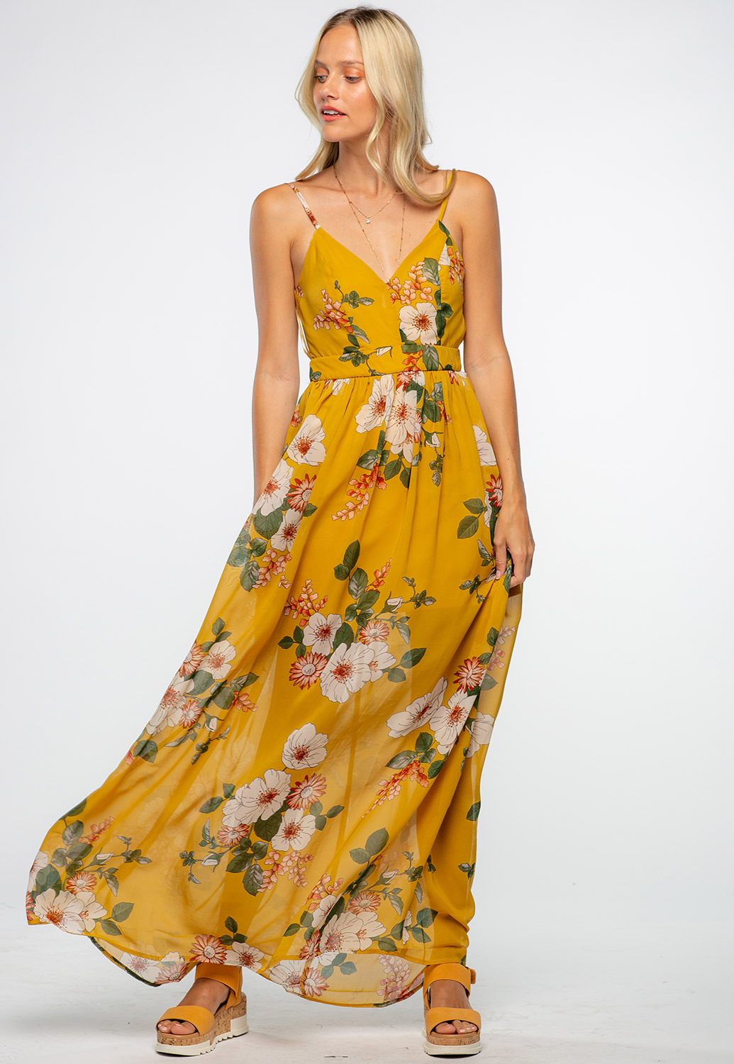Spaghetti Strap V-Neck Floral Maxi Sheer Dress With Open Back