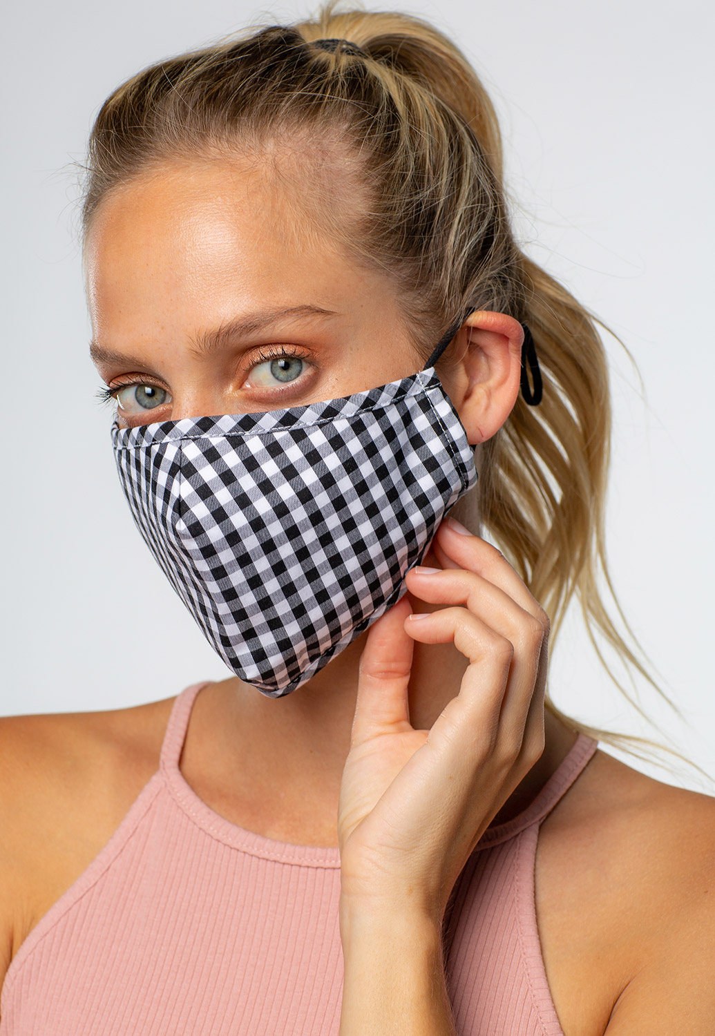 Size Adjustable Simple Checkered Mask