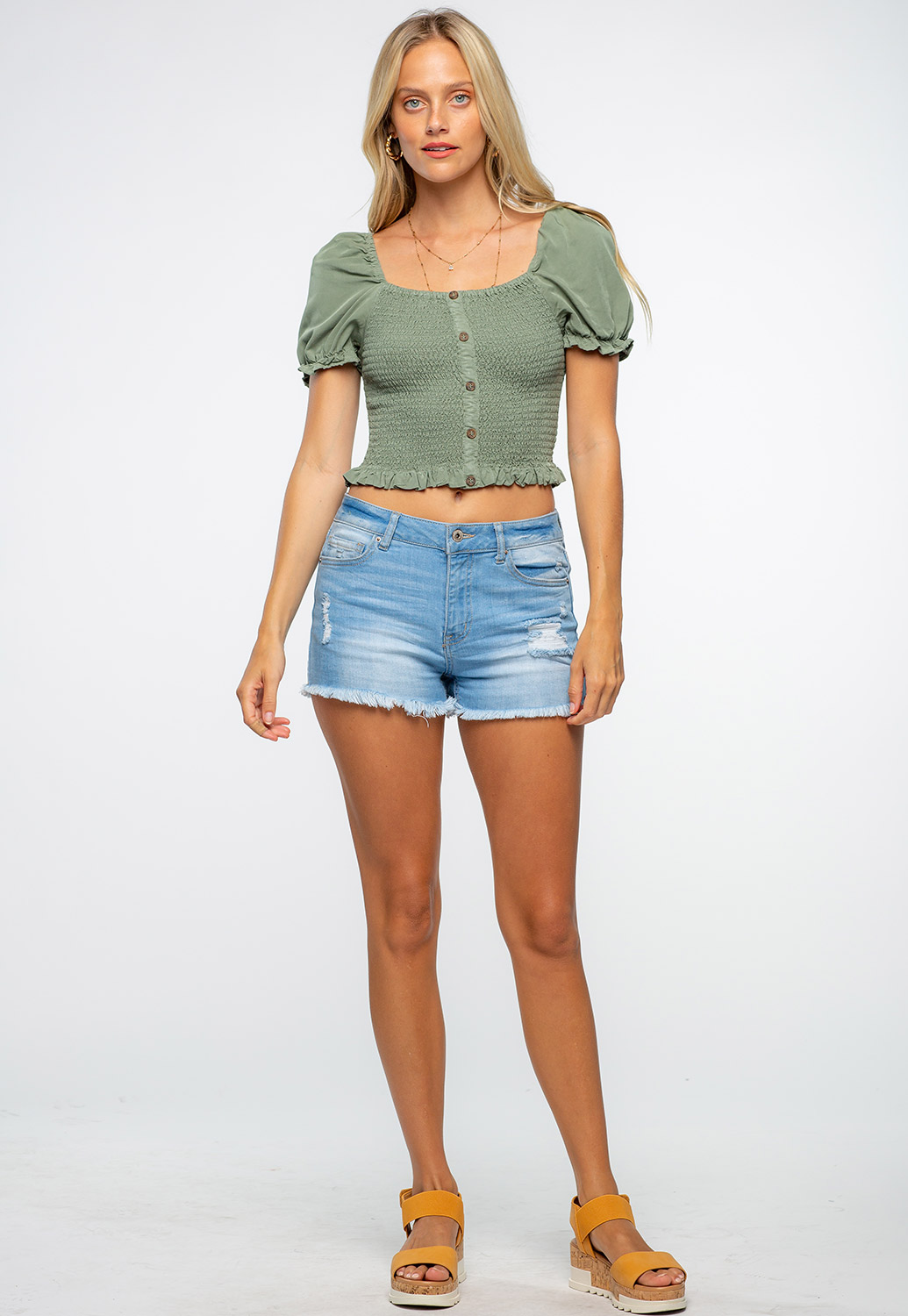 Front Button Detailed Puff Sleeve Smocked Crop Top