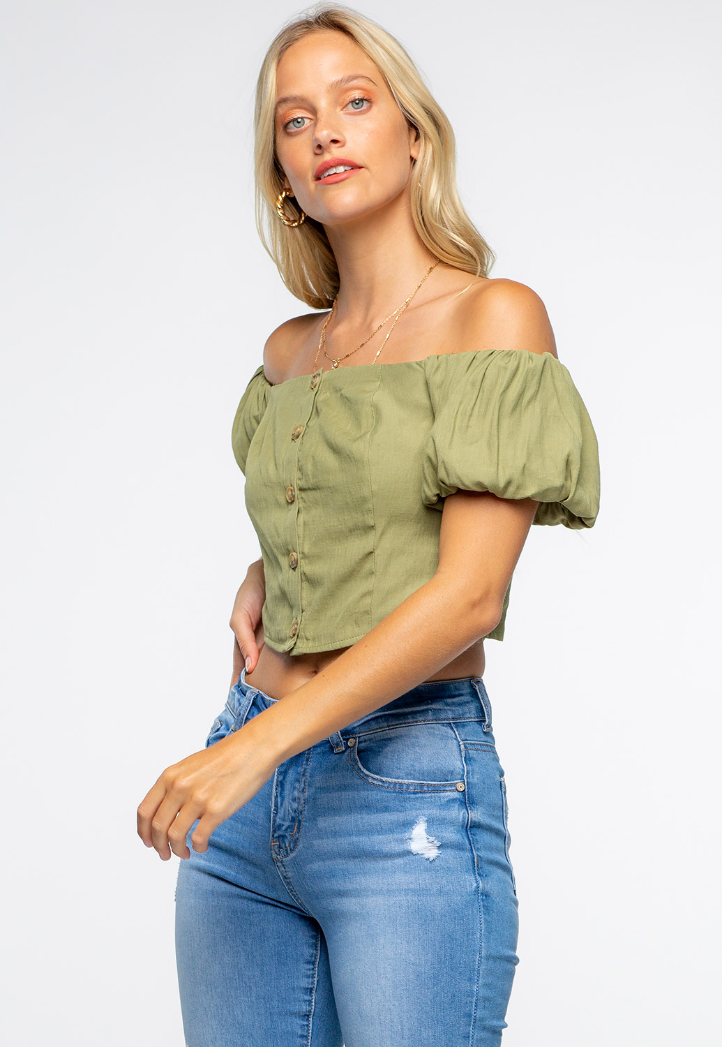 Off The Shoulder Front Button Detailed Puff Sleeve Crop Top