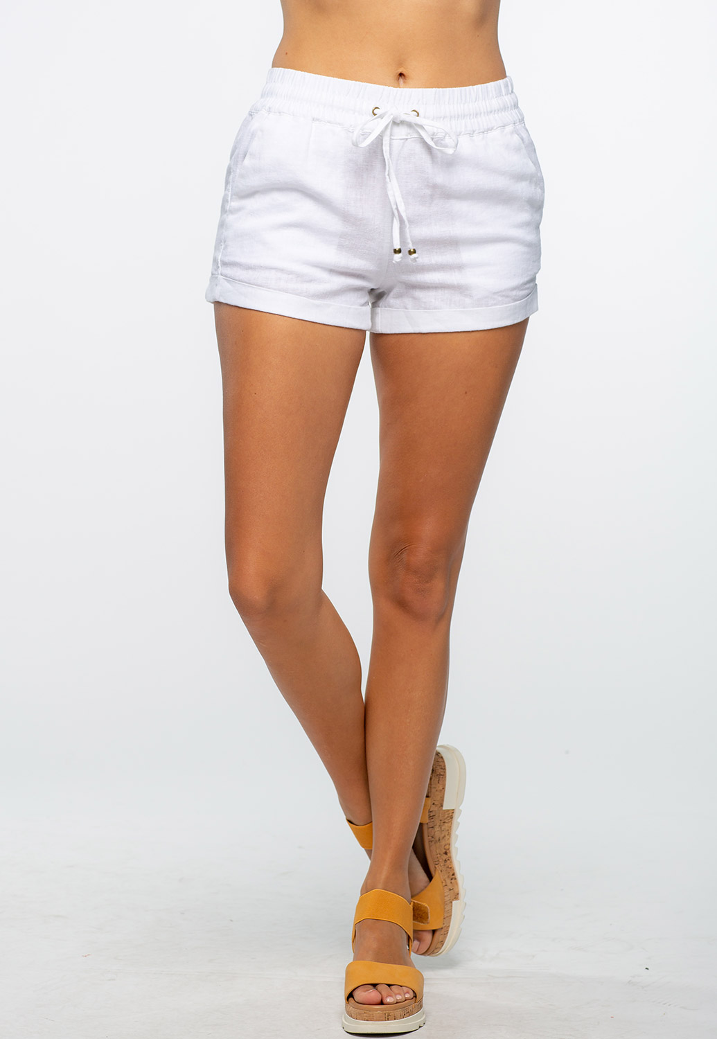 Front Tie Casual Linen Shorts