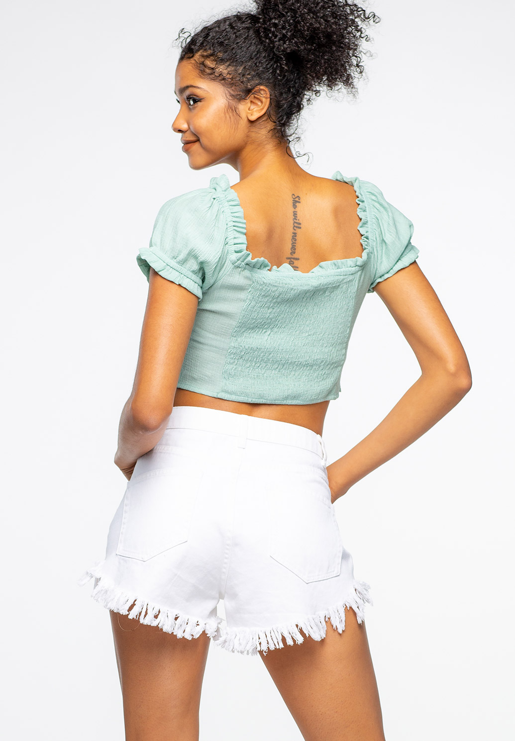 Square Neck Semi-Puff Sleeve Crop Top With Smocked Back