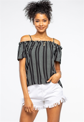 Perfect Summer Patterned Cold Shoulder Top