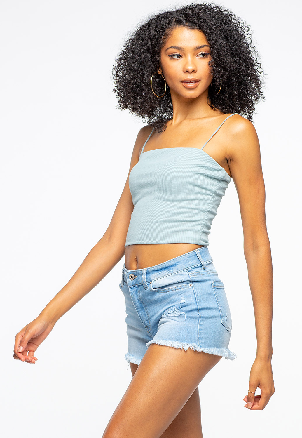 Strappy Casual Ribbed Crop Tank Top