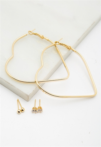 3 Pairs Gold Earring Set With Heart Shaped Hoop Earrings