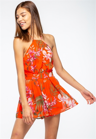 Tropical Printed Romper With Halter Tie Neck