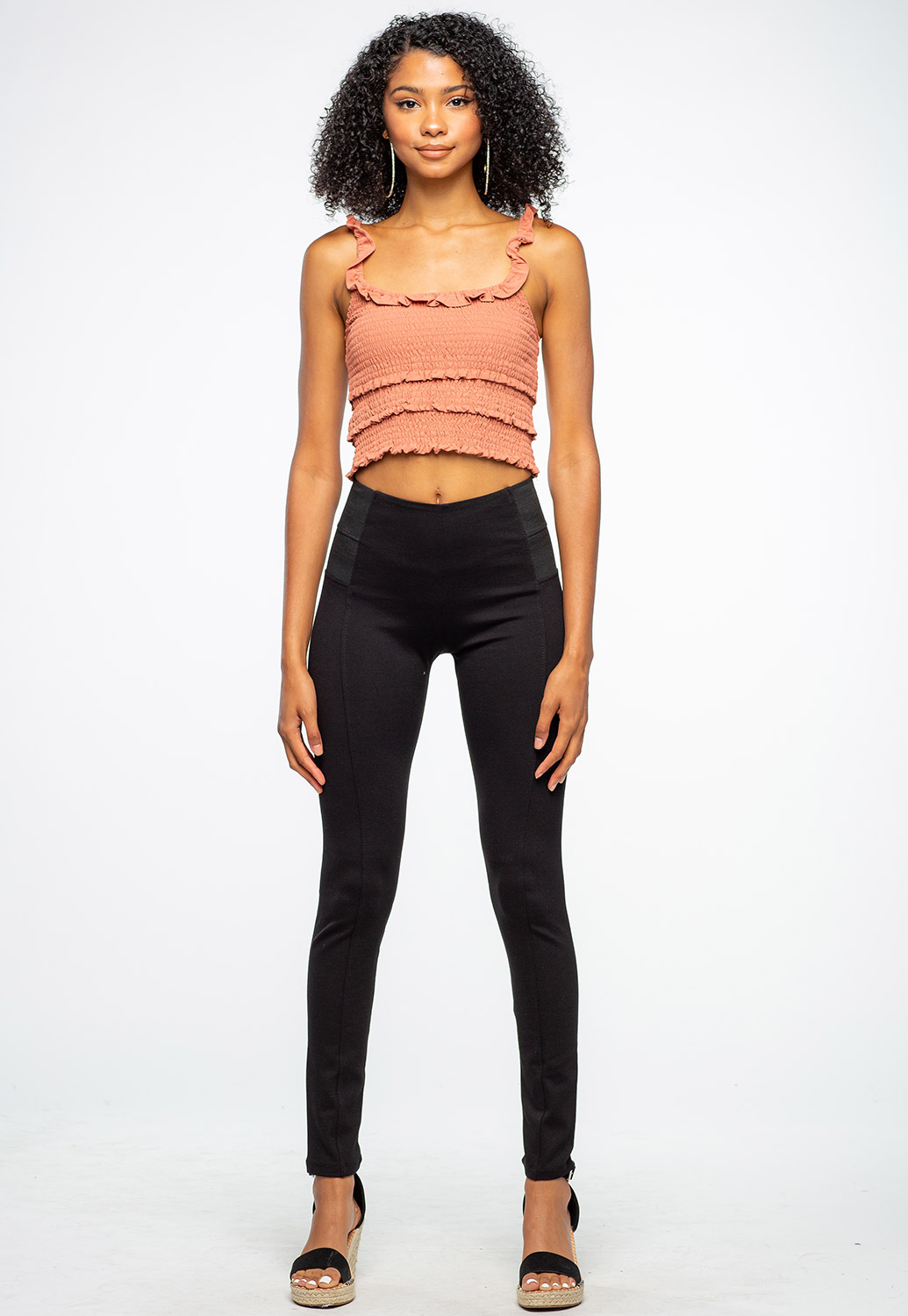 Black Solid Banded Waist Jeggings