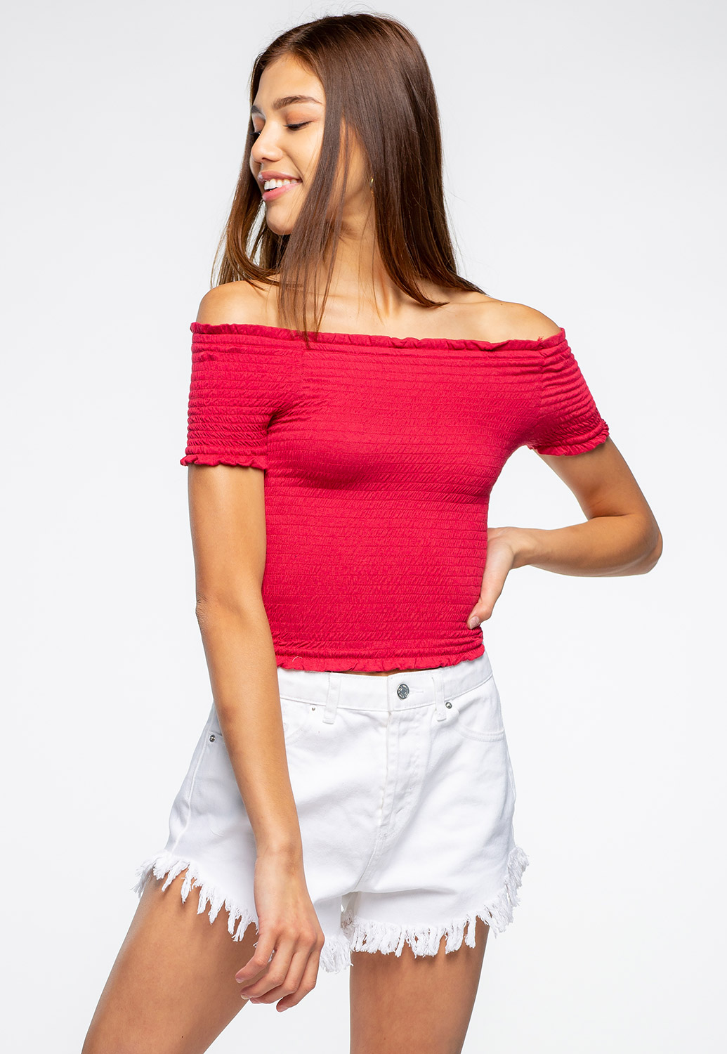 Off The Shoulder Smocked Semi-Crop Top