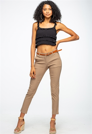 Skinny Fit Belted Dressy Pants