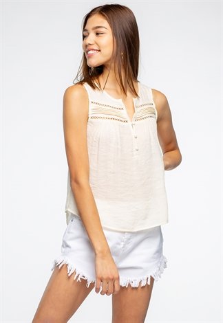 Sleeveless Lace Cut-Out Detailed Top