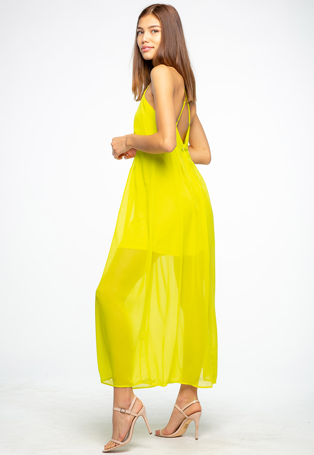 V-Neck Sheer Maxi Dress With Cross Back Detail