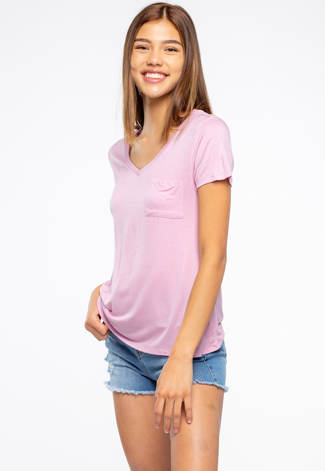 Basic V-Neck Top With Pocket