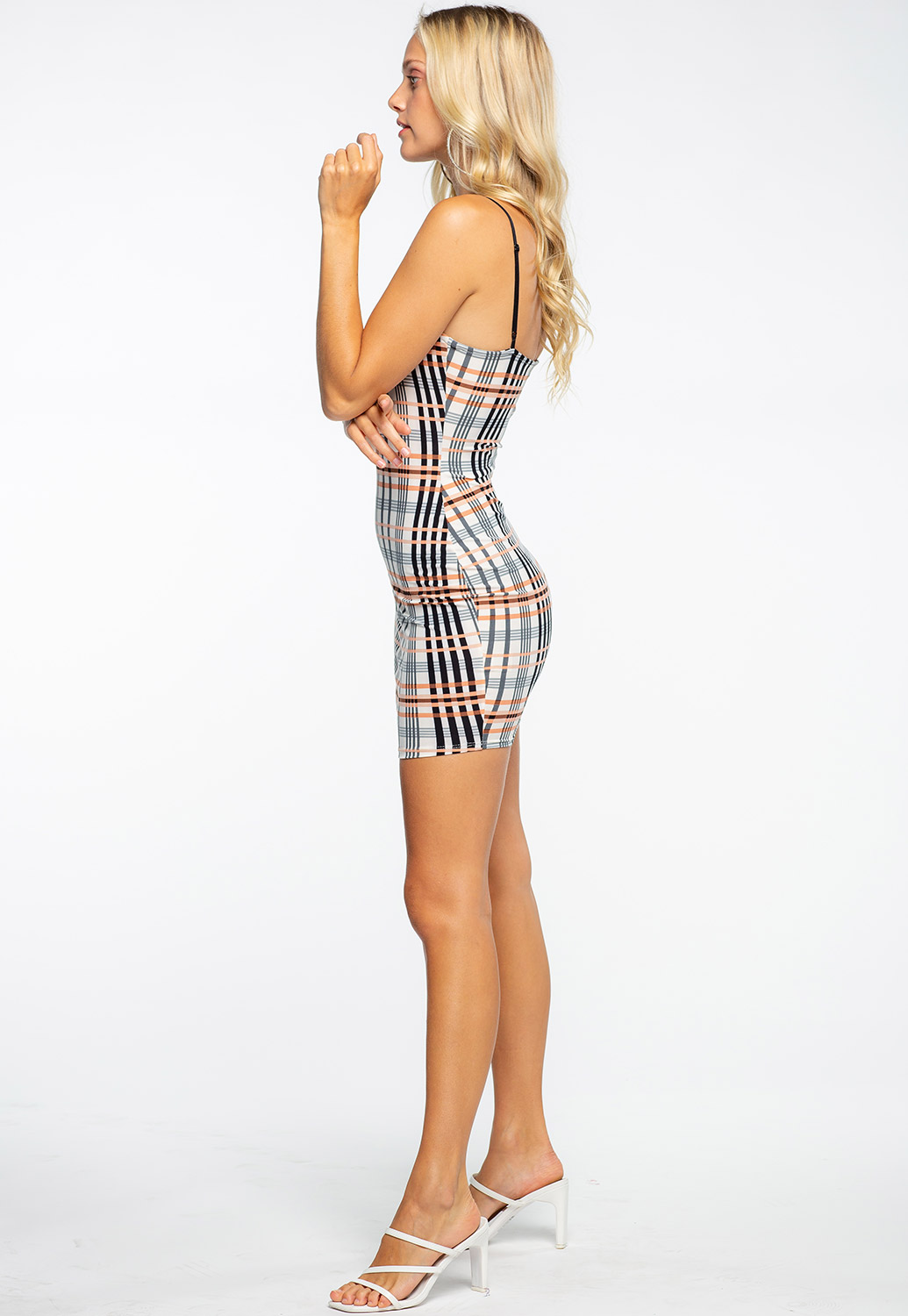 Multi Color Plaid Mini Bodycon Dress
