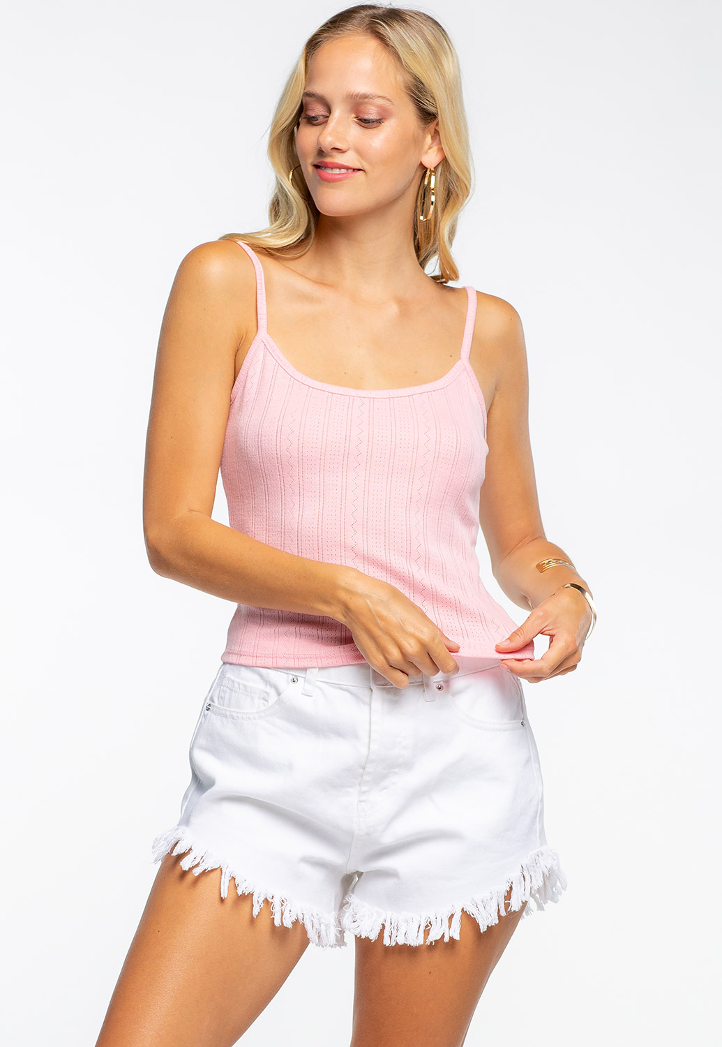 Spaghetti Strap Basic Ribbed Tank Top