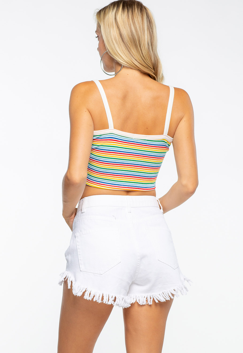Multi Colored Striped Crop Tank
