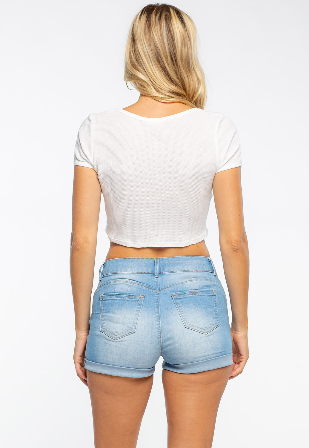 Front Button Deep Round Crop Top