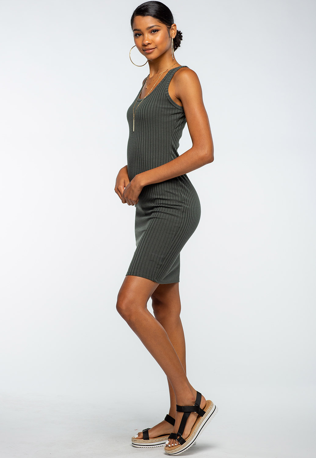 Round Neck Ribbed Bodycon Midi Dress