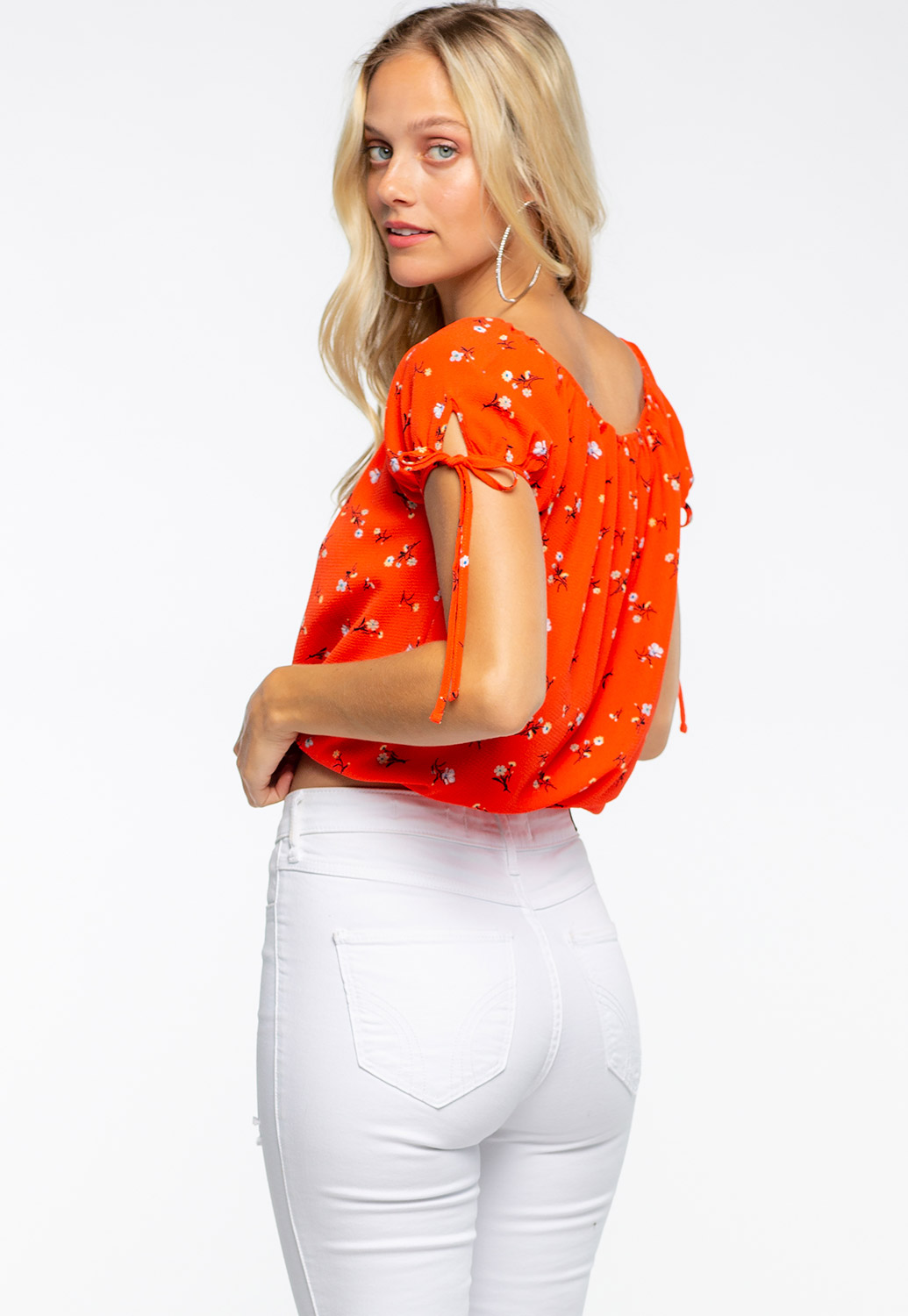 Round Neck Floral Blouse With Tie Sleeve