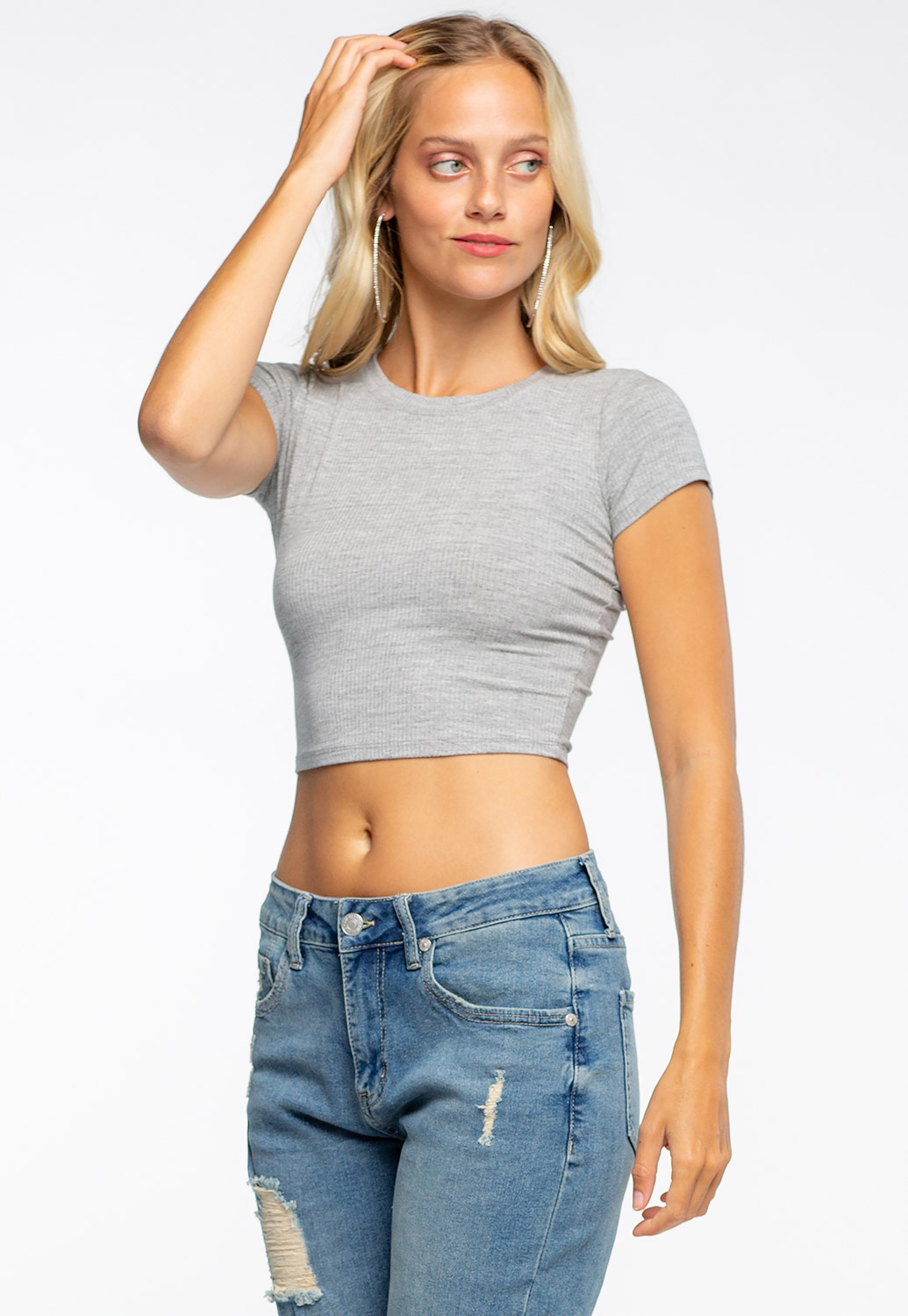 Round Neck Ribbed Crop Top
