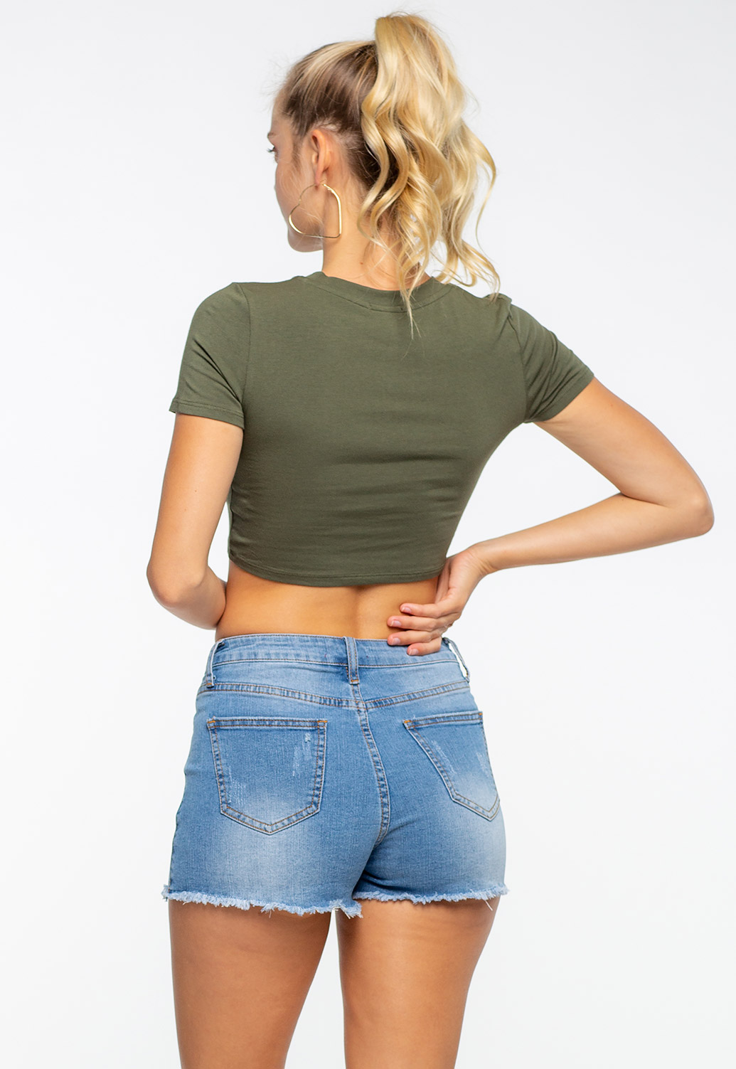 Basic Round Neck Solid Crop Top