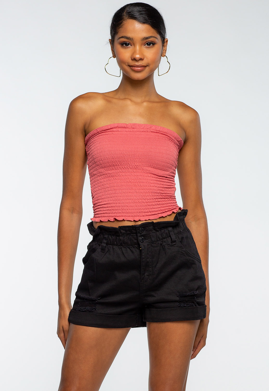 Summer Smocked Tube Crop Top