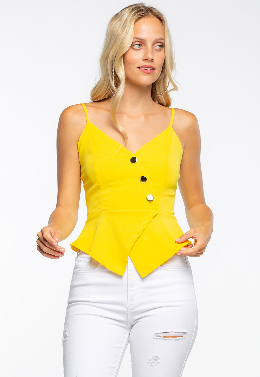 Sleeveless Front Button Embellished Top