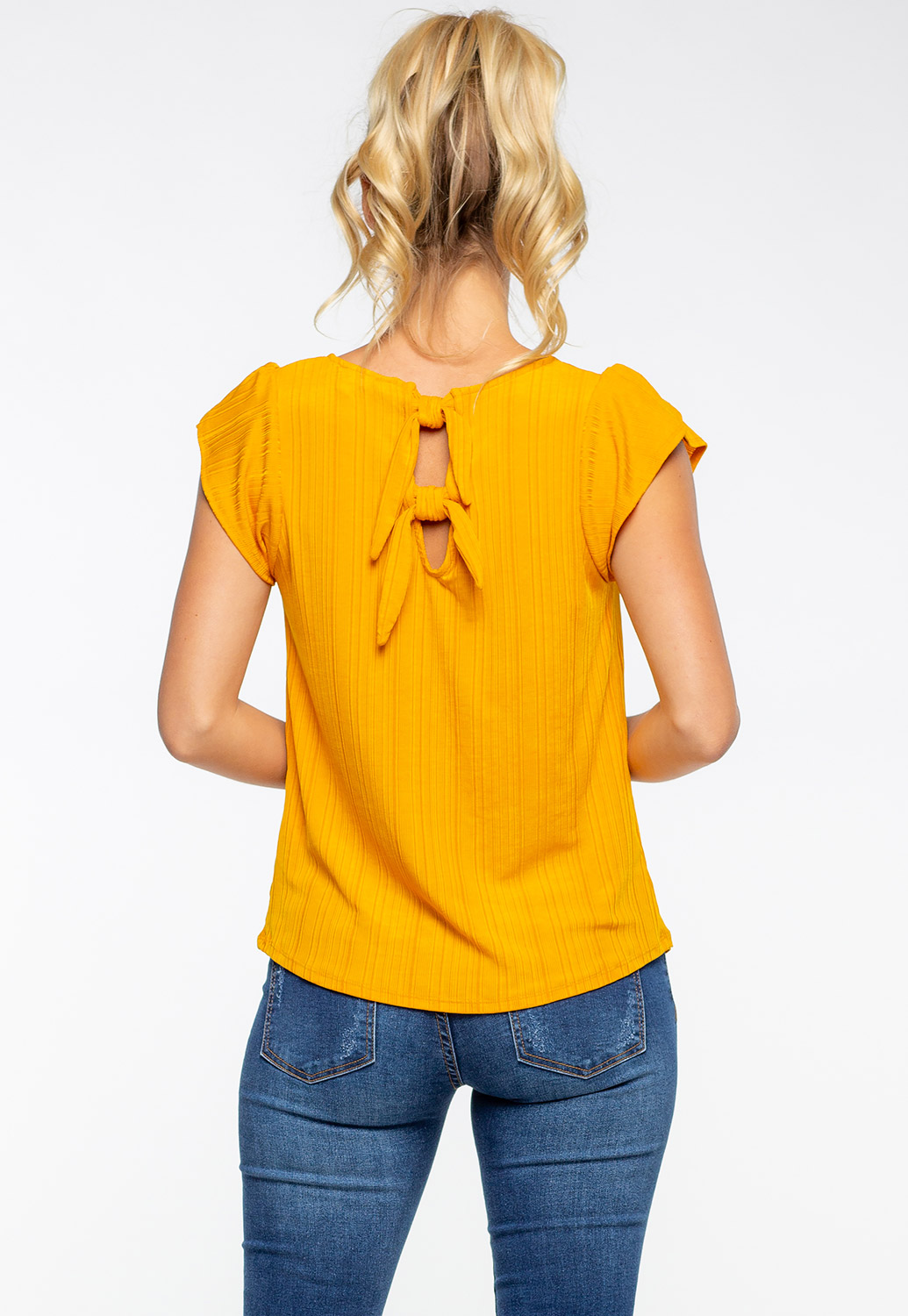Round Neck Blouse Shirt With Double Tie Knot Back Detail
