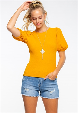 Necklace Embellished Balloon Sleeve Top