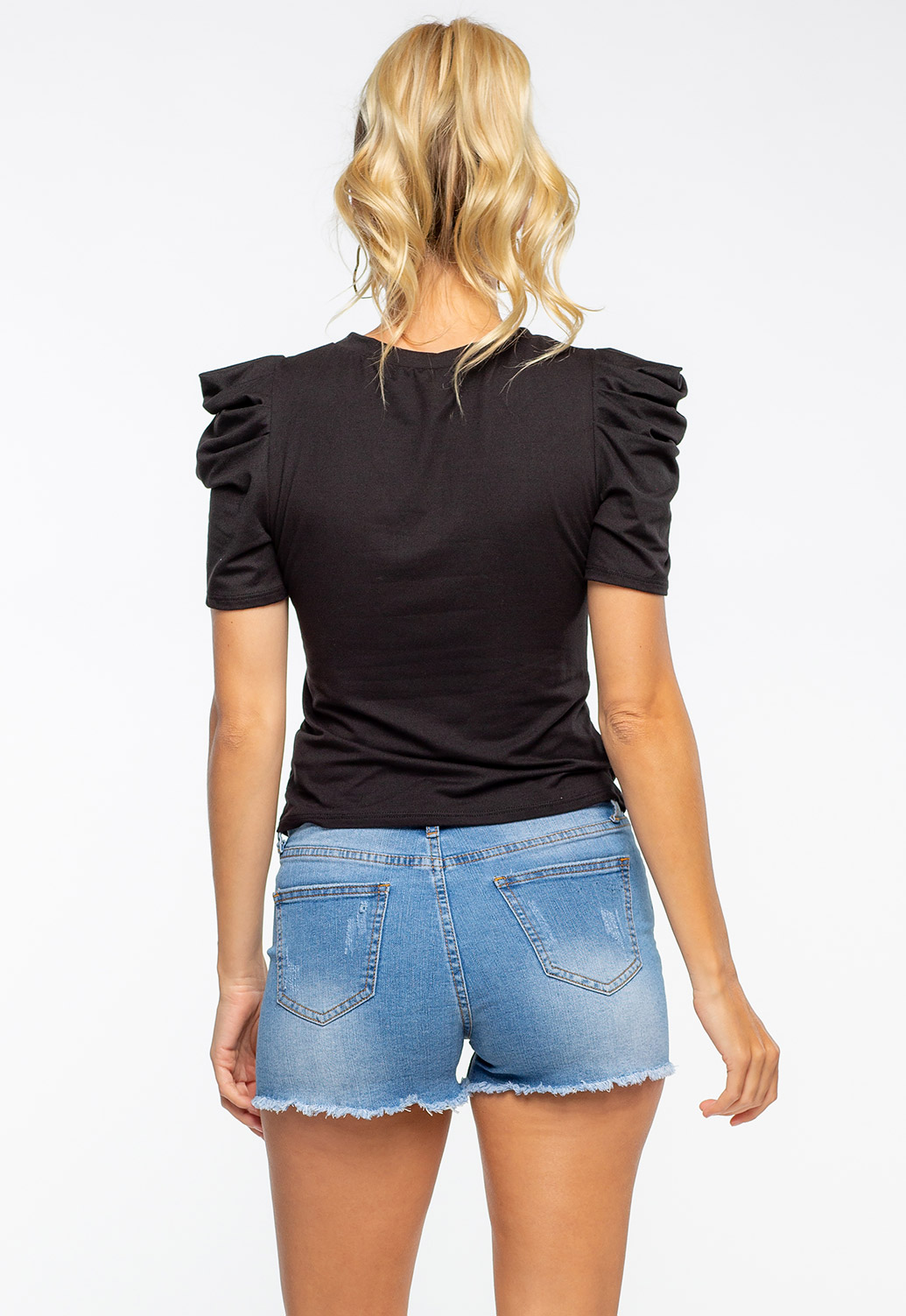 Ruched Puff Shoulder Black Mesh Top With Print
