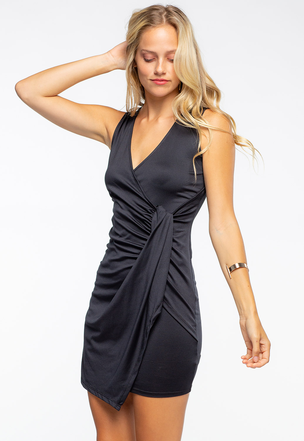 Deep V-Neck Double Ruched Mini Dress