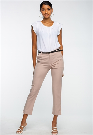 Faux Leather Belted Dressy Pants