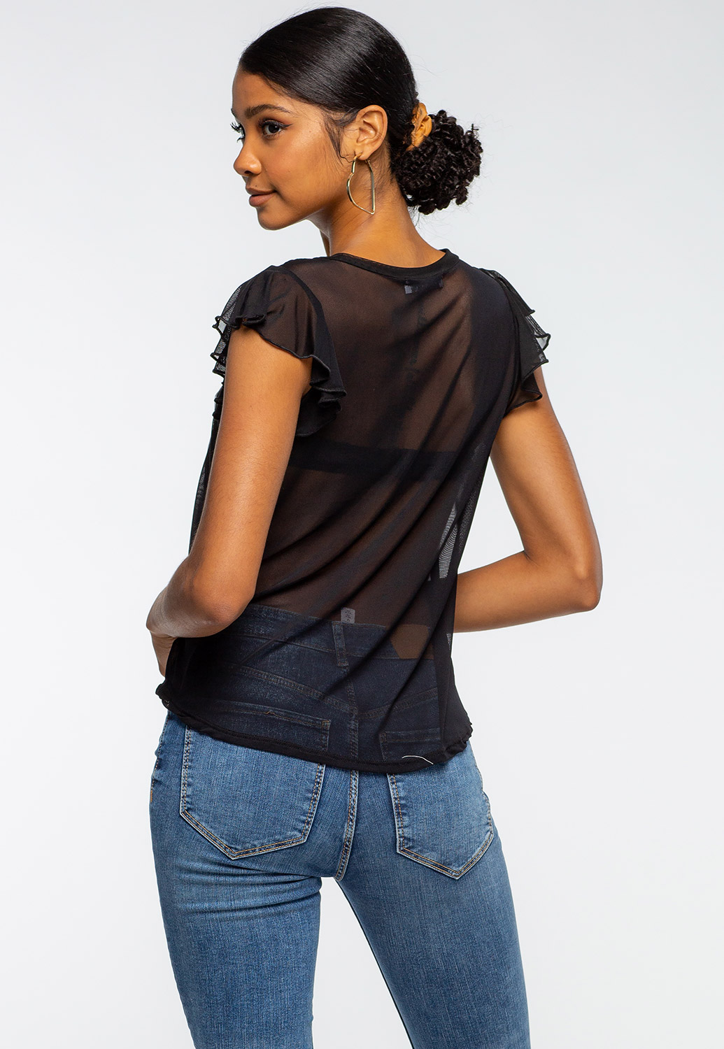 Ruffle Shouldered Graphic Mesh Top