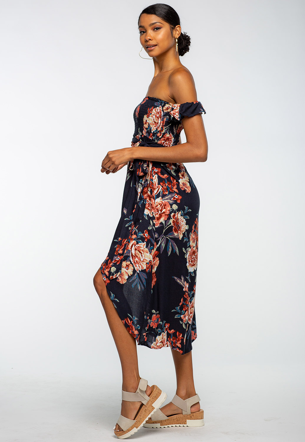 Floral Off The Shoulder High-Low Dress