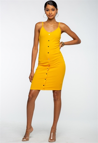 Spaghetti Strap Button Front Bodycon Dress