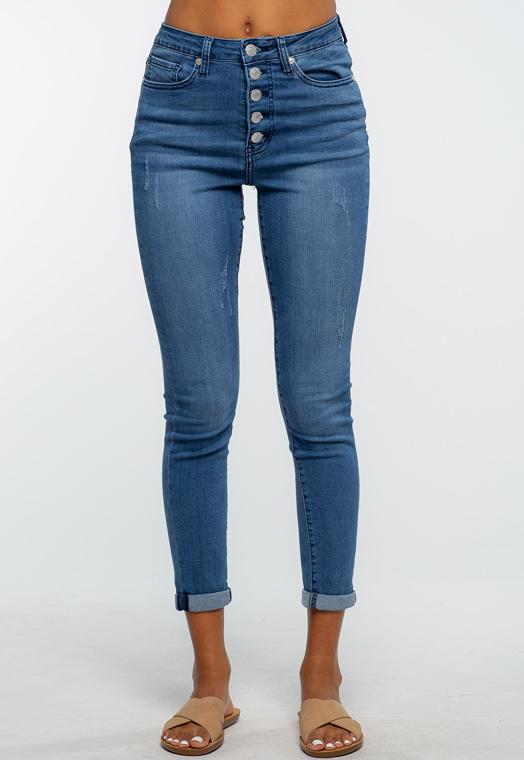 Button Up Denim Skinny Jean