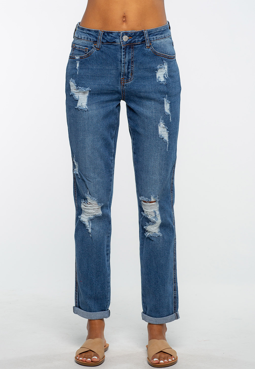 Mom Fit Distressed Denim Jean