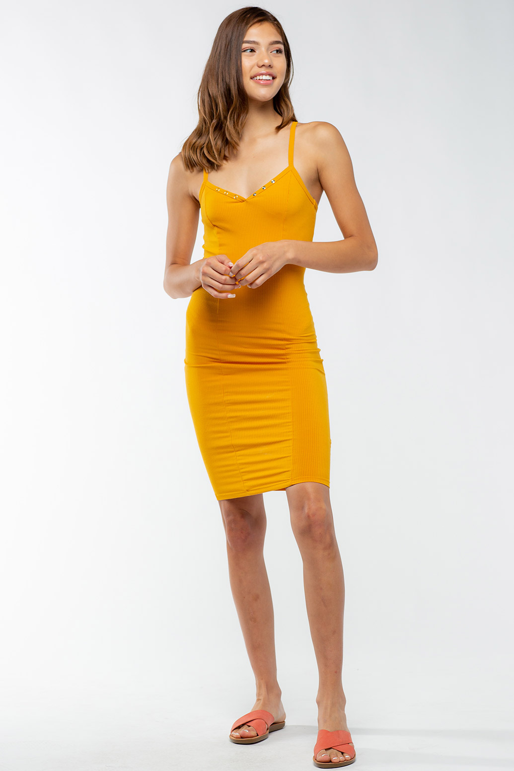 Spaghetti Strap Basic Midi Dress With Buttons