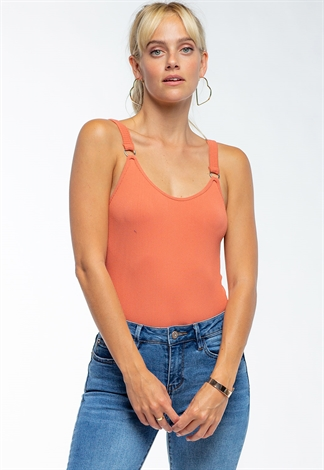 Sleeveless Ribbed Bodysuit With Ring Detail