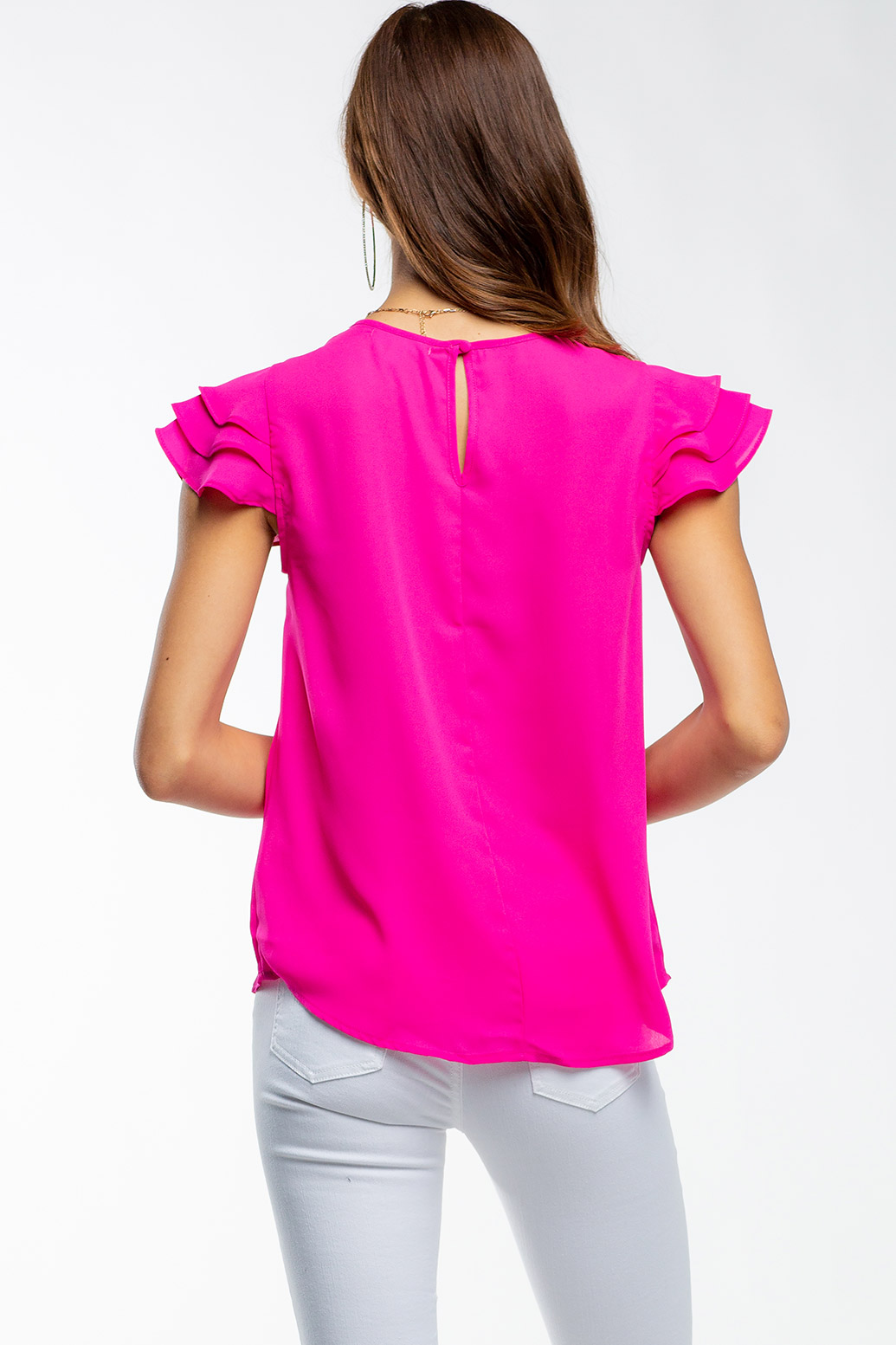 Layered Ruffle Sleeve Summer Blouse With Button Closure