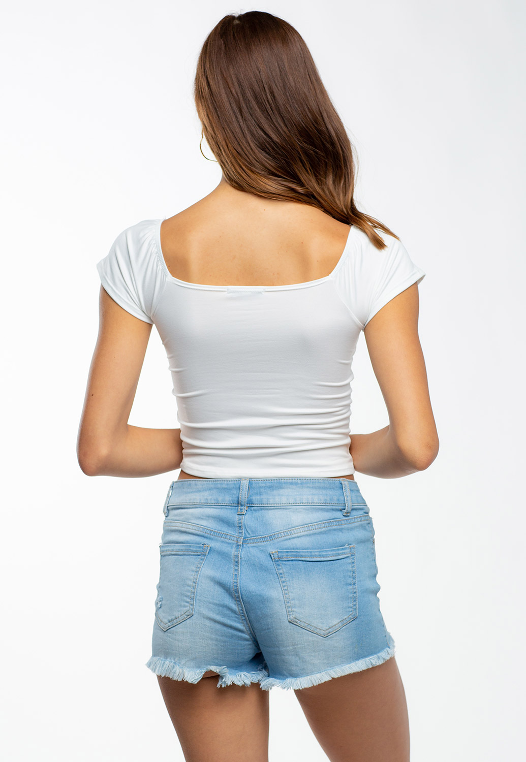 Short Sleeve Square Neck Crop Top