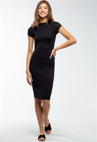 Basic Short Sleeve Midi Bodycon Dress