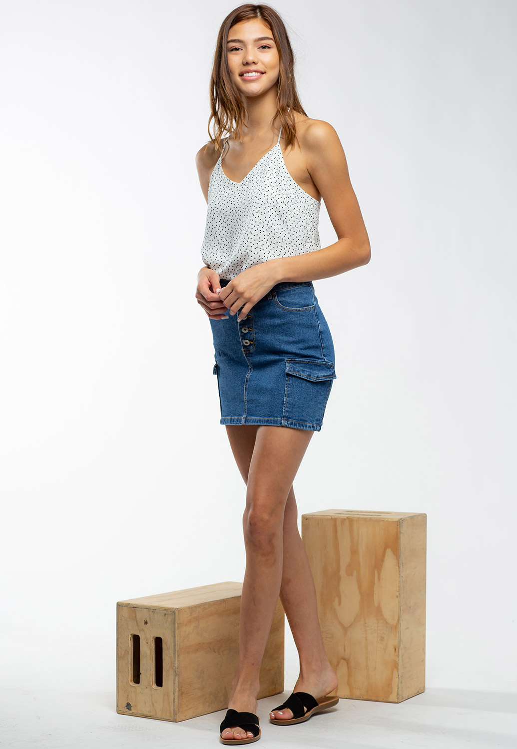Button Up Denim Blue Skirt With Pockets